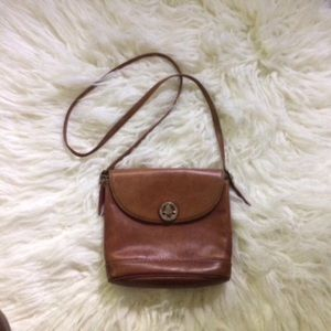 Vintage Pourchet Paris Brown Leather Cross…